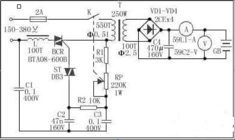 可调型汽车蓄电池充电器电路图