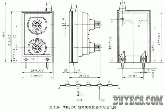 wigj1081型高压聚焦电位器的外形及电路如图3-60 所示,其主要参数