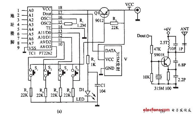三极管q截止,编码集成icl处于断电状态,无线数据发射模块没有发射信号