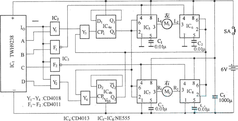 此电动车遥控器电路图不仅能使模型汽车作前进、后退运动,而且可作左、右转弯运动, 它结构简单、操作方便。无线电遥控接收解调电路采用TWH9238组件,与它配套使用的遥控发射组件为TWH9236.可供大家学习和参考。