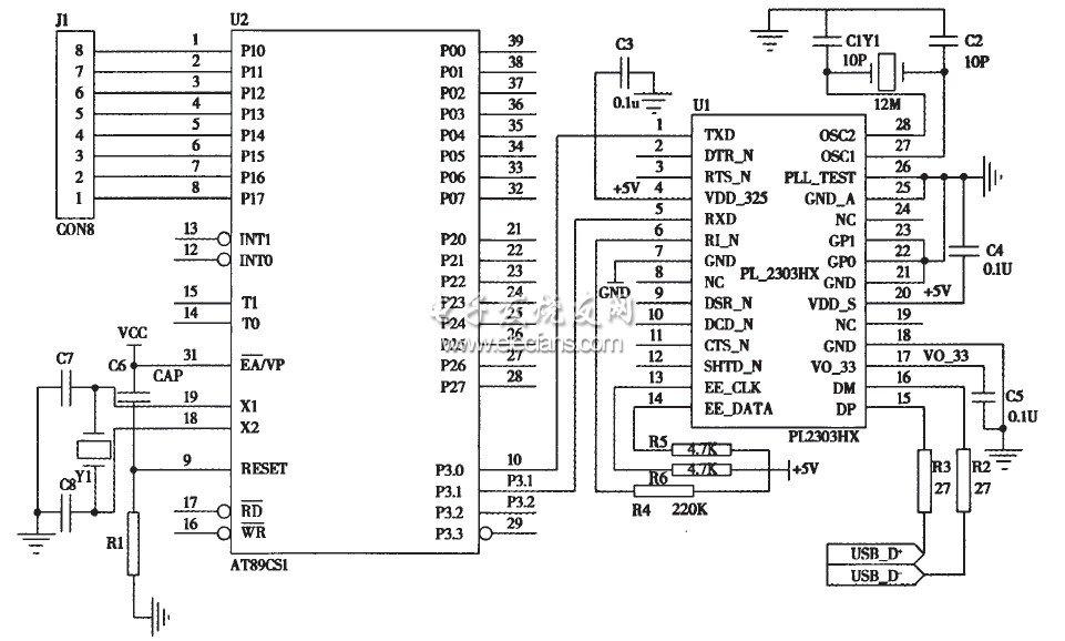 rxd)以rs232方式进行通信的,所以usb芯片与单片机at89c51之间的连接