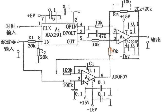 如图所示为8次低通滤波电路。该电路为采用开关电容构成的8次低通滤波电路。改变时钟频率可改变截止频率,并且截止频率为时钟频率的1/100。时钟输入端加+5V电平的方波信号,在A1的输入(IN)与输出(OUT)端之间可以获得低通滤波器的特性。由于输入衰减器与输出放大器的作用,输入输出信号电平可以达到±10V。当电源电压为+5V,输入电压峰峰值为9V以上时,为使失真不急剧增大,在电路输入信号端接入R1和R2组成的衰减器。输入电压为0V时,输出端产生的漂移电压最大可达0.