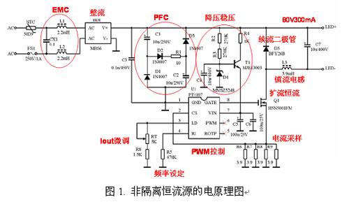 然后就直接用降压(buck)电路进行降压和恒流控制.